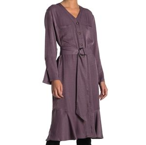 NWT: V-Neck Belted Midi Dress